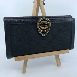 GUCCI GG LOGO CANVAS BLACK LEATHER LONG WALLET